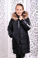 Стильная модная  куртка для девочки Чиэра черная (32-38)