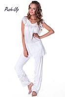 Хлопковая женская пижама белого цвета Suavite Катрин-П