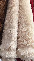 Покрывало на кровать с длинным ворсом меховое 220х240 цвет кремовый