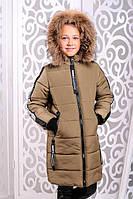 Стильная модная  куртка для девочки Чиэра хаки (32-38)