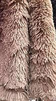 Покрывало на кровать с длинным ворсом меховое 220х240 цвет капучино, фото 1