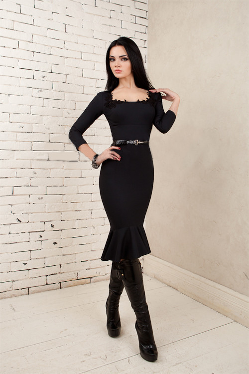 42c0fd30c20 Деловое платье футляр с воланом 156 - ИЗИДАмаркет в Хмельницком