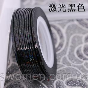 Лента для дизайна тонкая (черная голограмма)