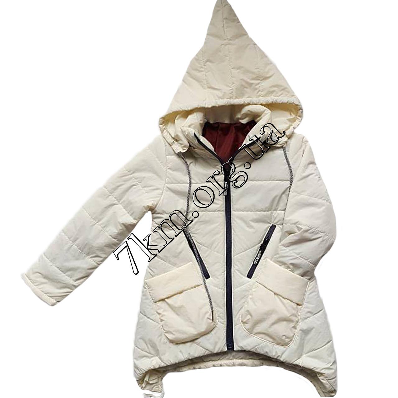 Детская куртка для девочек 5-9 лет молочная Оптом 040908 - Детская одежда  оптом 7км 534a80dd019c5