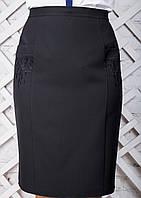 Женская прямая юбка с вышивкой 2313 размер 50-56