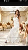 Платье Макси белое Вышивка стразы,размер М-Л