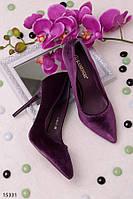 Женские туфли лодочки фиолетовые на высокой шпильке эко замш