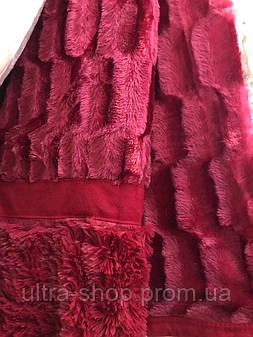 Покрывало на кровать меховое Норка 200х230 цвет бордовый