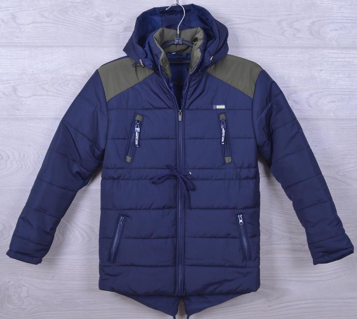 """Куртка подростковая еврозима """"Ukraine"""" для мальчиков. 7-11 лет. Синяя+зеленый. Оптом."""