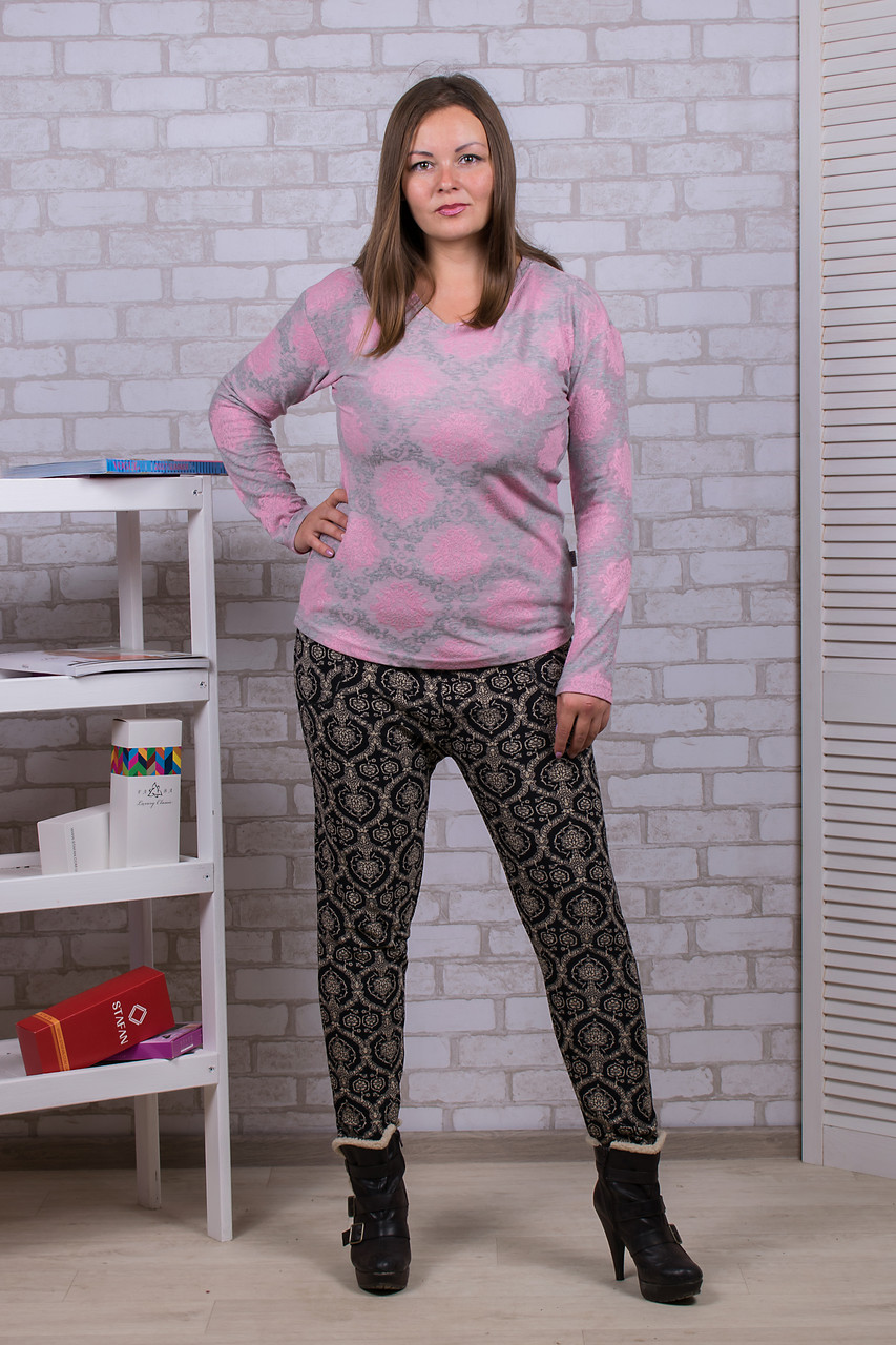 Женские цветные штаны на меху Nanhai A995-4 6XL. Размер 52-56.