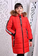 Стильная модная  куртка для девочки Чиэра красная (32-38)