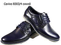 Туфли мужские комфорт  натуральная кожа синие на шнуровке  (8303)