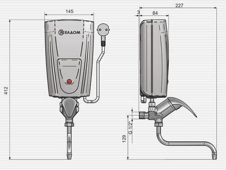 Проточный водонагреватель 5 кВт ELDOM E52, фото 2