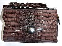 Женский лаковый клатч светло-коричневый крокодил 25*17, фото 1