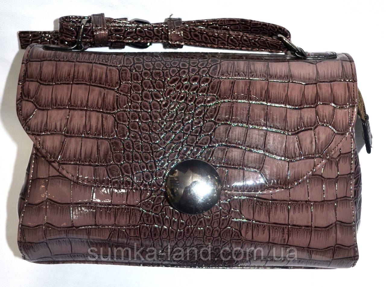 Женский лаковый клатч светло-коричневый крокодил 25*17
