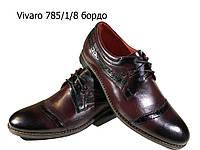 Туфли мужские классические  натуральная кожа бордовые на шнуровке  (785/1/8)