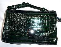 Женский лаковый клатч зеленый крокодил 25*17, фото 1