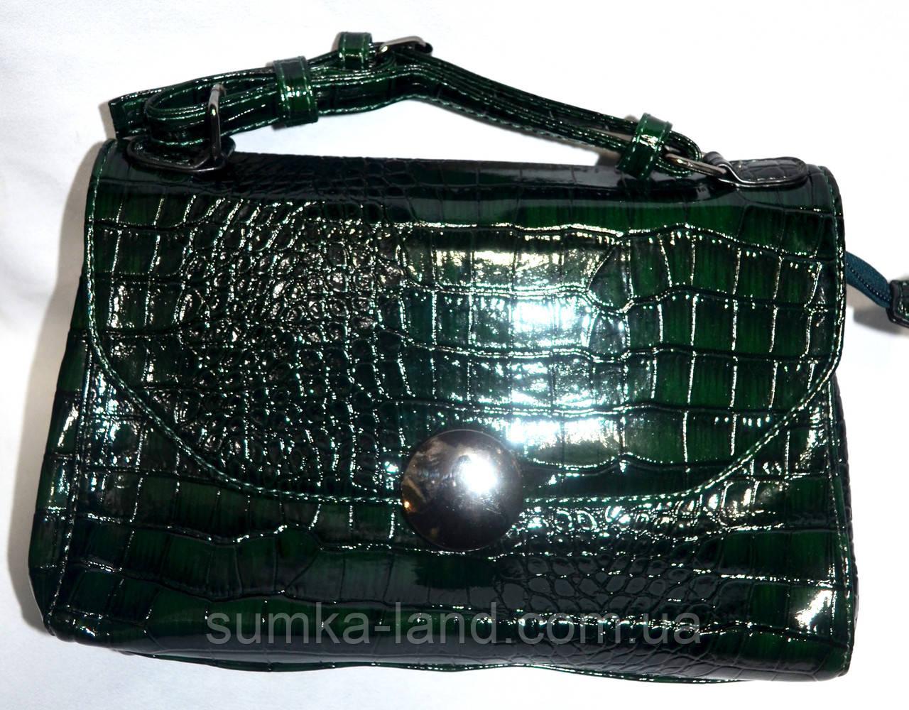 Женский лаковый клатч зеленый крокодил 25*17
