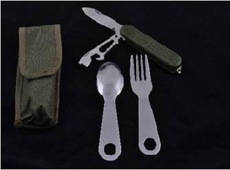 Нож туристический в чехле ( ложка и вилка в комплекте )