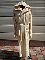 Желтый махровый турецкий халат с капюшоном размер XXL