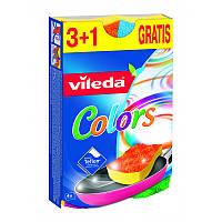 Vileda Губка для посуды из тифлона Виледа Пур Актив цветные 3+1 шт