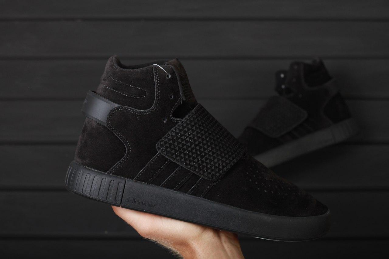 Кроссовки Adidas Tubular Invader Triple black. Живое фото! Топ качество (Реплика ААА+)