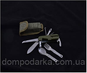Туристический многофункциональный нож в чехле с вилкой и ложкой