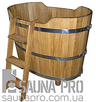 Купель дубовая 650 л LUXWOOD (2 сиденья, слив, лестница приставная)