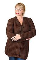 Кофта вязаная большой размер Veronika шоколад (50-56)