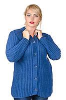 Кофта вязаная большой размер Veronika джинс (50-56)