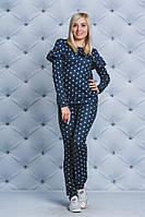 Костюм женский с рюшами т-синий, фото 1