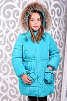 Красивая детская  куртка для девочки Риза бирюза