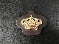 Нашивка Корона золотая коричневая 57х48мм