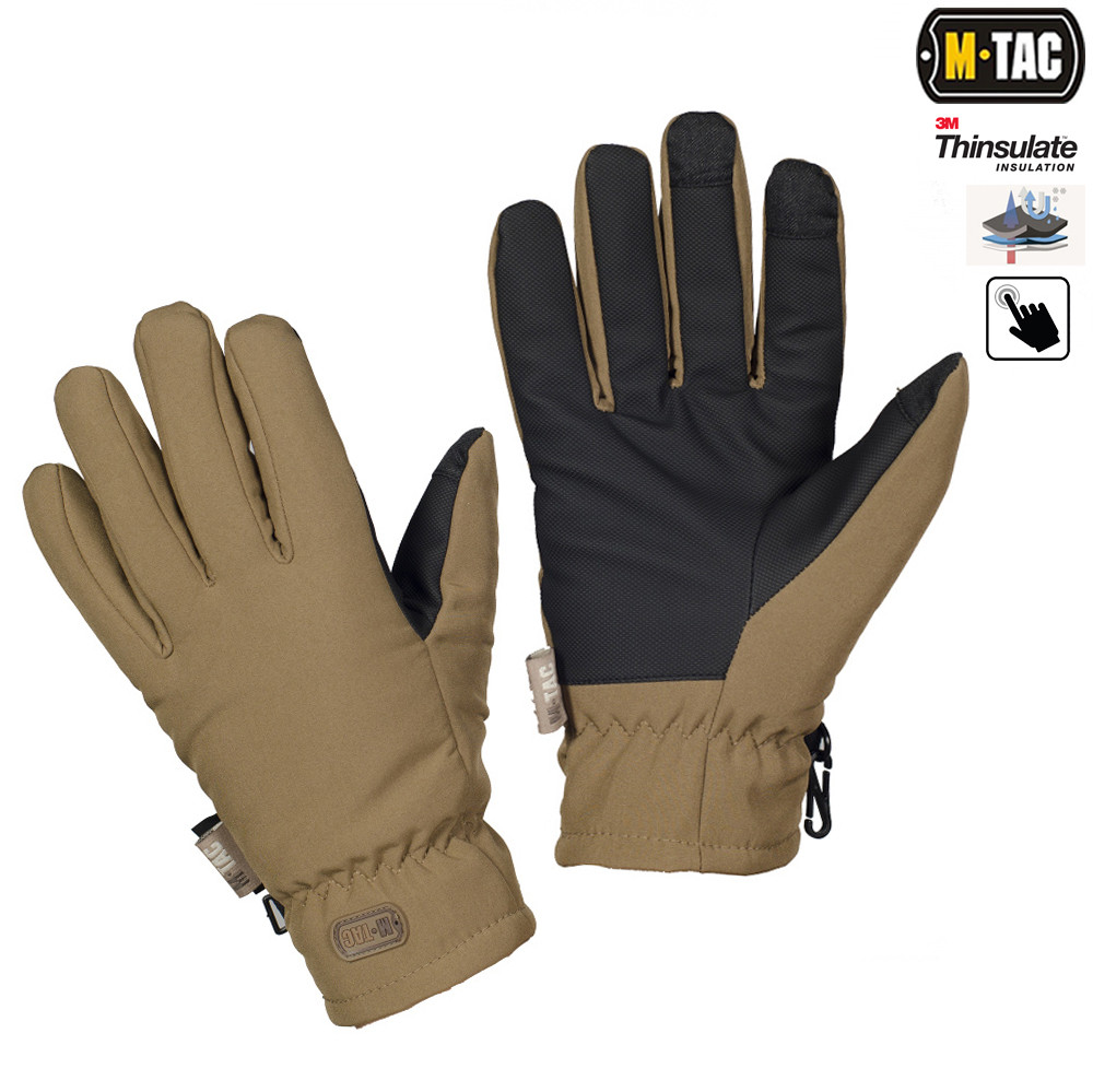 M-TAC ПЕРЧАТКИ SOFT SHELL THINSULATE COYOTE BROWN_непромокаемые