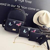 Рюкзак женский стильный с бабочками 4 в 1 (черный)