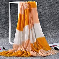 Стильный легкий женский шарф в полоску оранжевого цвета