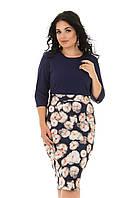 Красивое платье в цветочек большие размеры 50-56