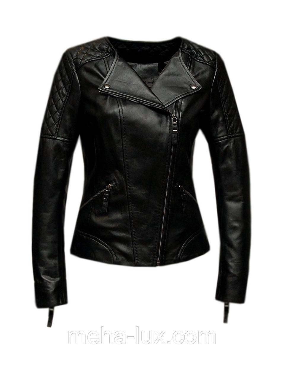 Куртка косуха женская кожаная Albertini короткая черная -