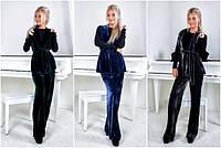 Женский брючный костюм-тройка из бархата №2127 (р.42-46)
