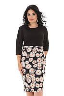 Черное Красивое платье в цветочек большие размеры 50-56