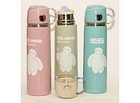 Термос питьевой с чашкой+поилка 500 мл. разные цвета