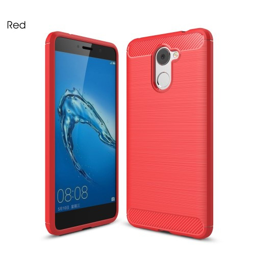 Чехол накладка TPU Fiber Carbon для Huawei Y7 красный