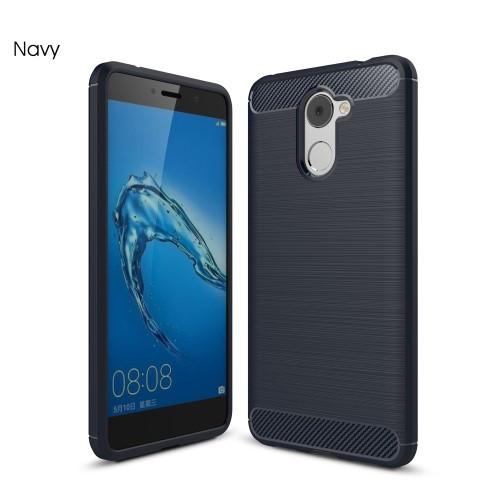 Чехол накладка TPU Fiber Carbon для Huawei Y7 синий