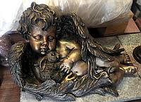 Статуя Ангел с зайцем из полимера под бронзу 45*23*27 см