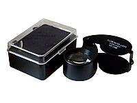 Лупа d=25mm 40х с подсветкой черная, фото 1