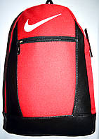 Спортивный рюкзак с кожанными вставками Найк из текстиля маленький красный 26*39