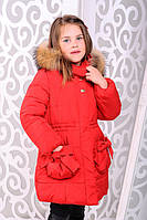 Красивая детская  куртка для девочки Риза красный