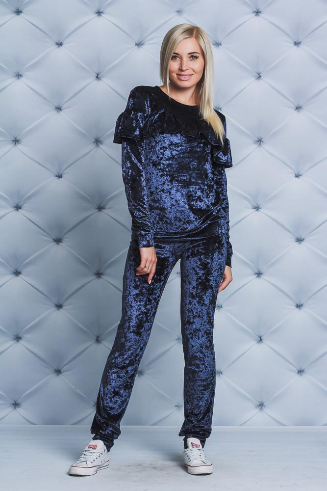 Велюровый костюм женский с рюшей т-синий