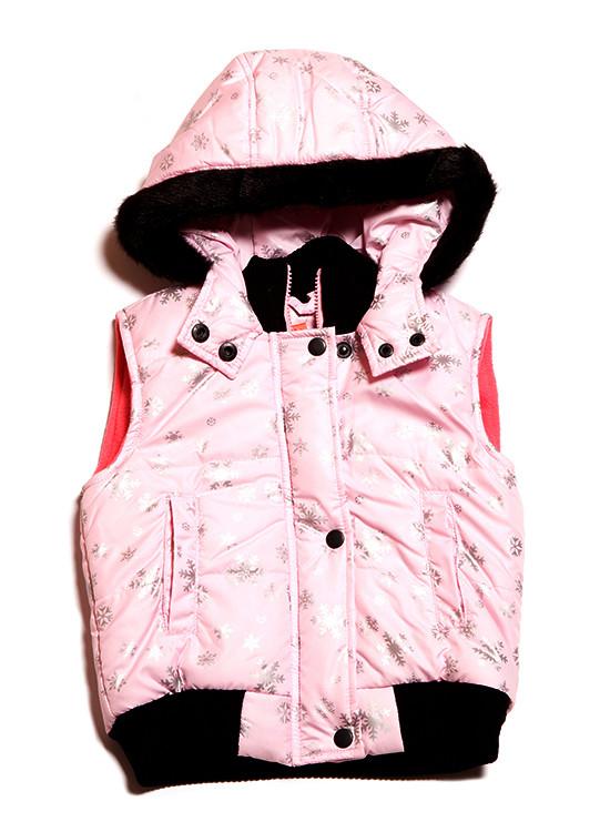 Розовая детская жилетка в снежинки (86-140)