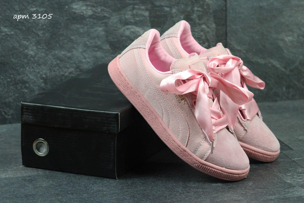 Кроссовки женские Puma Suede Bow розовые